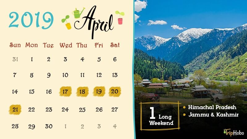 Long weekends in April 2019 in India