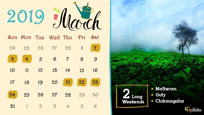Long Weekends in March 2019 in India