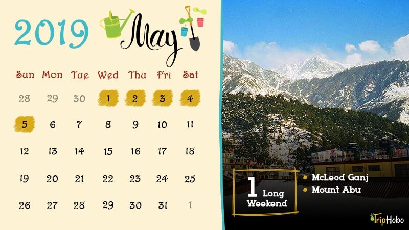 Long weekends in May 2019 in India