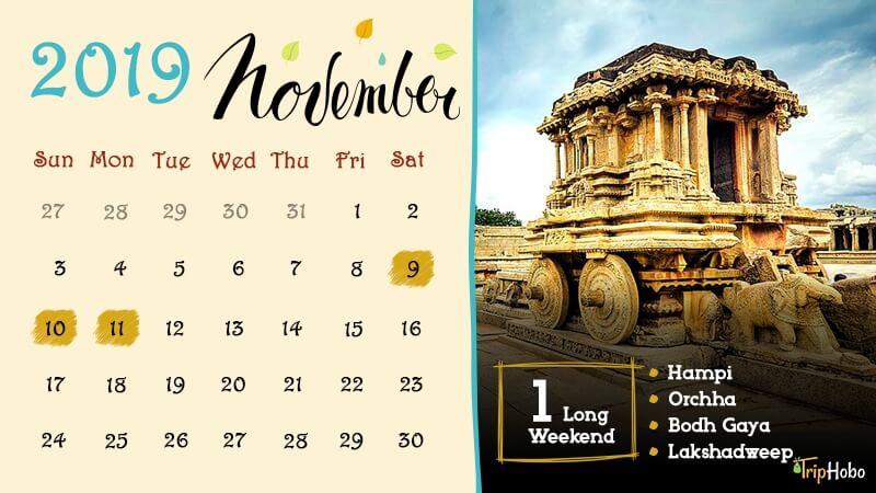 Long weekends in Indian in November 2019