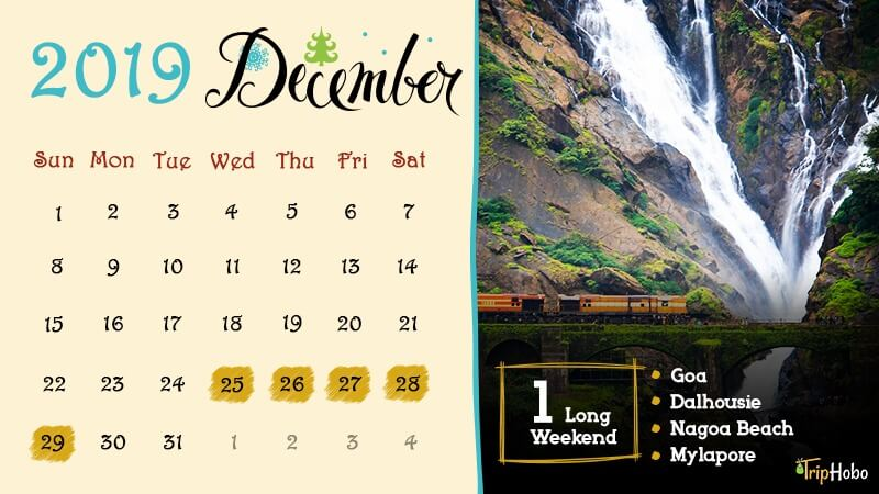 Long weekends in India December 2019