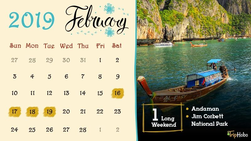 Long Weekends in February 2019 India