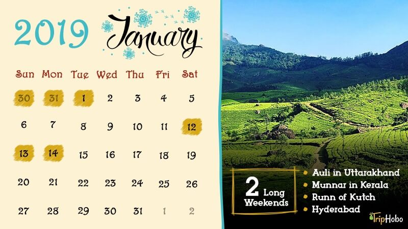 Long Weekends in January 2019 India