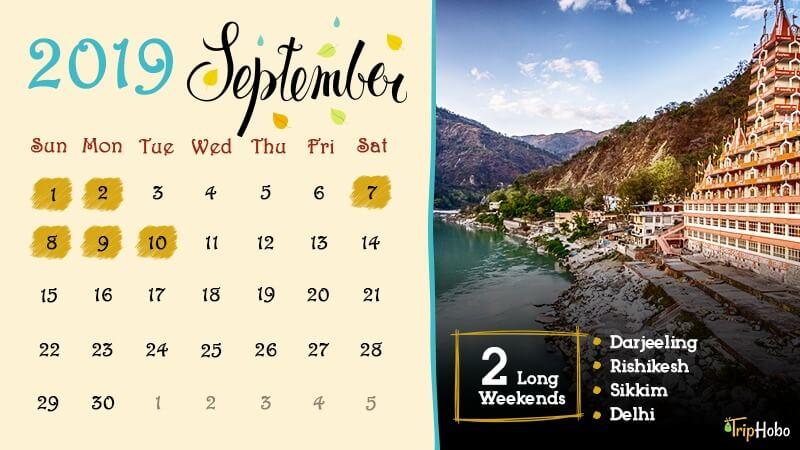 Long weekends in September 2019