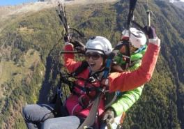 Tandem Paragliding Flight Above The Mont Blanc In Chamonix