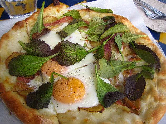 Fried Egg Pizza in France