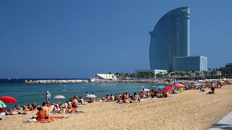 Sant Sebastia - longest beach in Barcelona