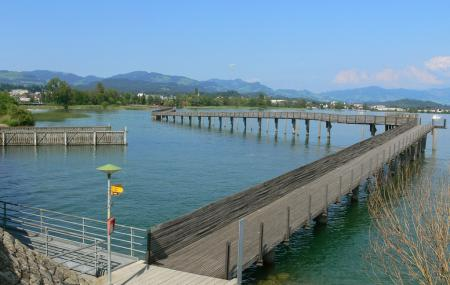 Wooden Bridge From Rapperswil To Hurden Image